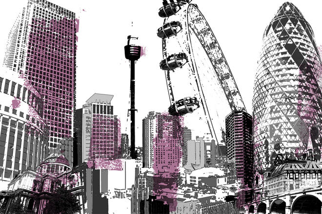 Cityscapes Montage London Pink Tektura Wallcoverings