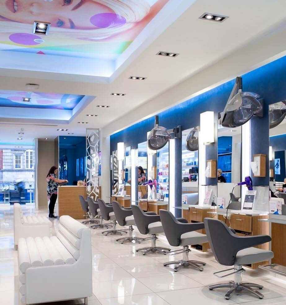 Peter Mark S Salon In Rathmine Has Had A Makeover With Custom Printed Wallcovering On The Ceiling And Vibrant Blue Metalline Walls